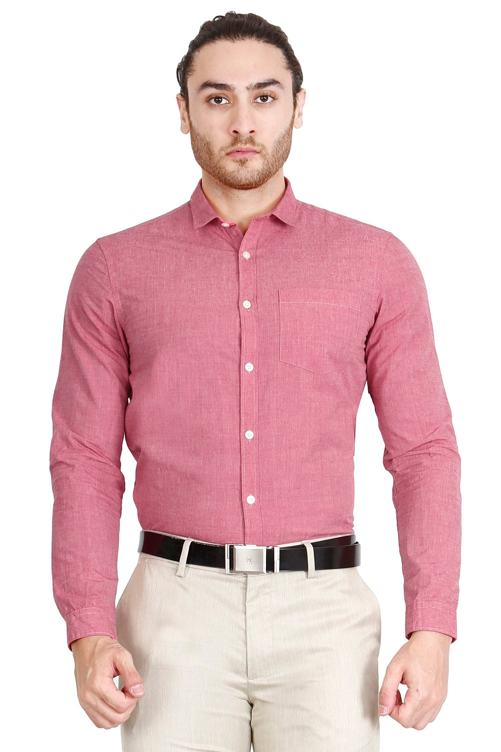 Bric Red Solid Formal Full Sleeve Shirt