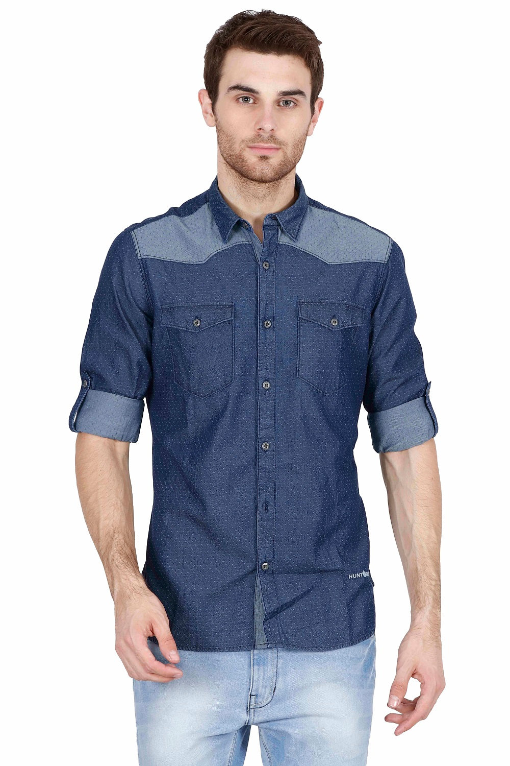 Hunt and Howe Men's Full Sleeve Denim Casual Shirt