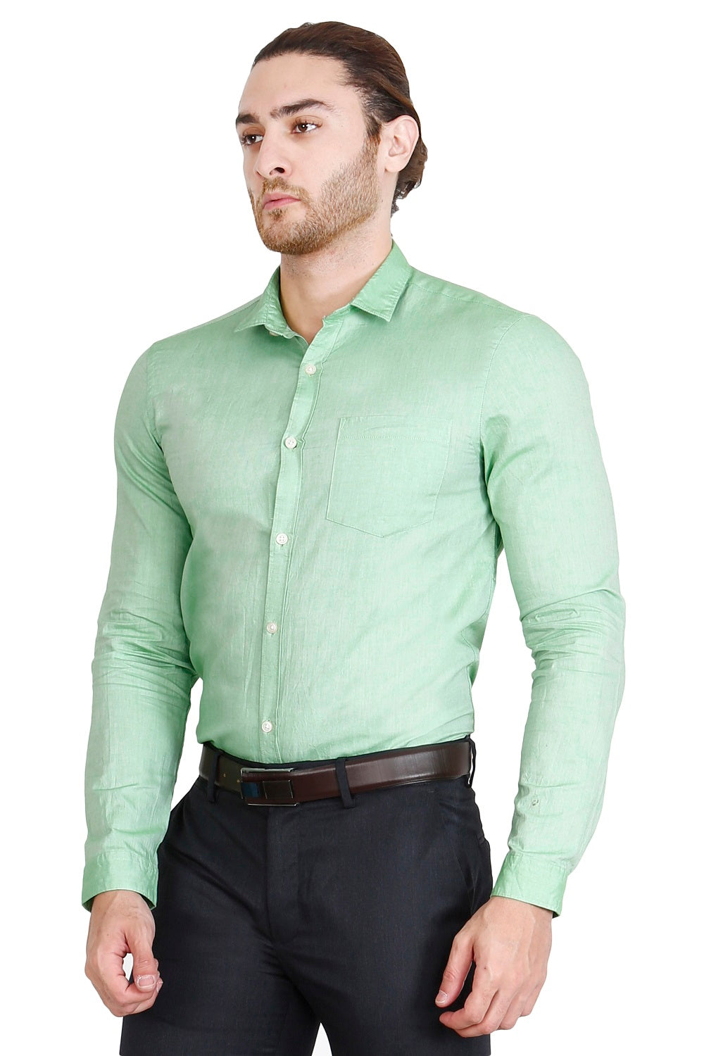Green Solid Formal Full Sleeve Shirt