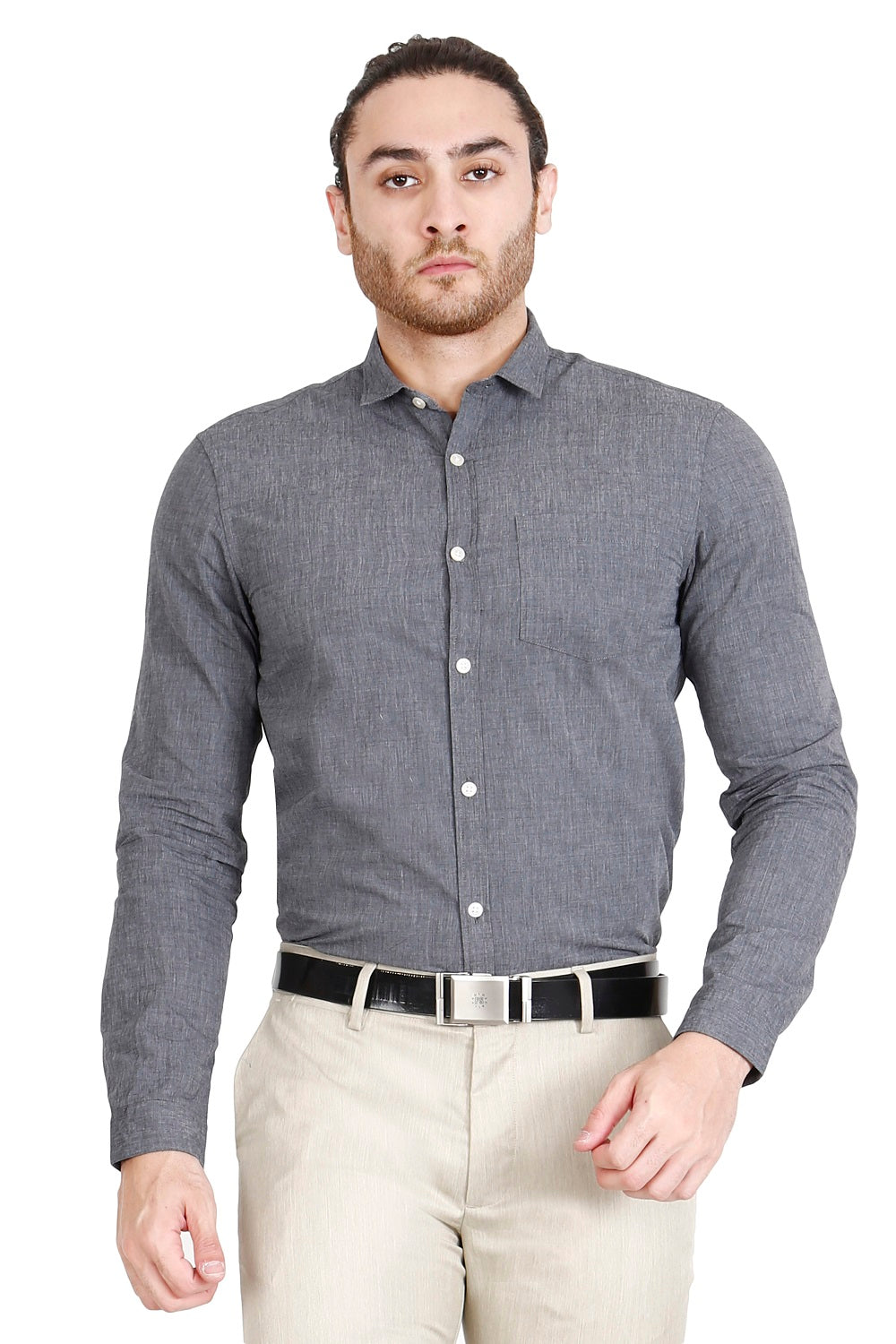 Grey Solid Formal Full Sleeve Shirt