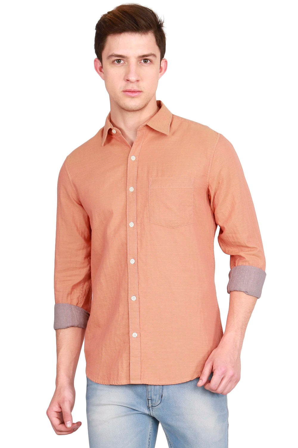 IMYOUNG Men's solid Orange Slim Fit Casual Shirt