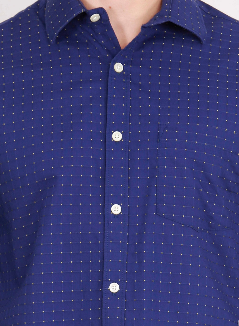 IMYOUNG Blue Checked Slim Fit Casual Shirt