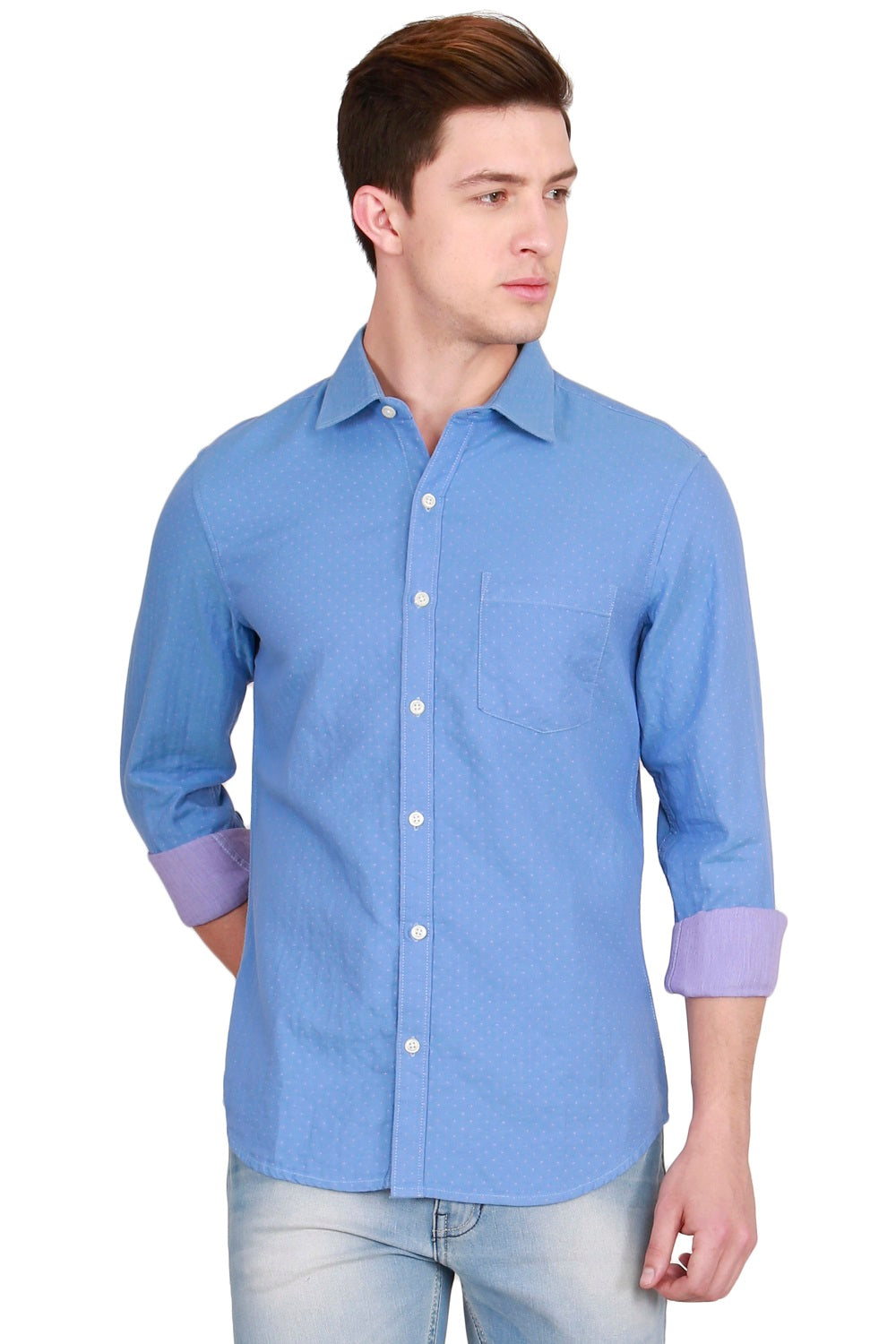 IMYOUNG Blue Solid Slim Fit Casual Shirt