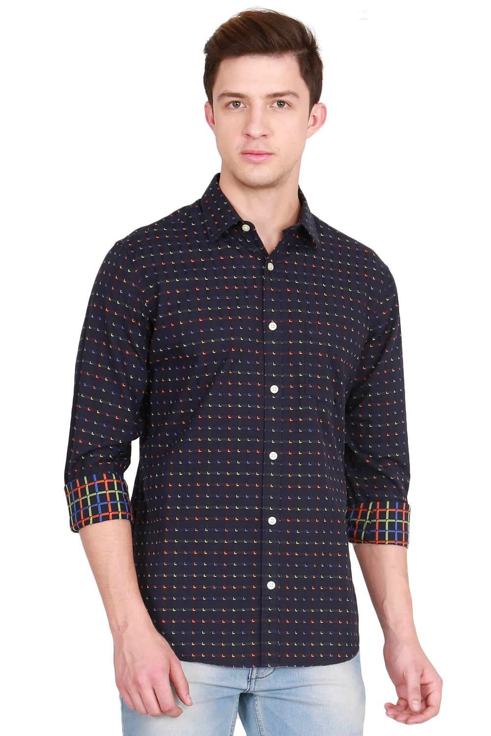 IMYOUNG Multicolored Checked Casual Shirt