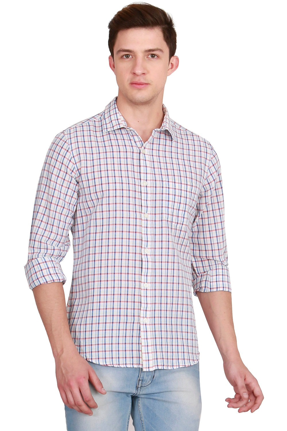 IMYOUNG Multicolored Checked Slim Fit Casual Shirt
