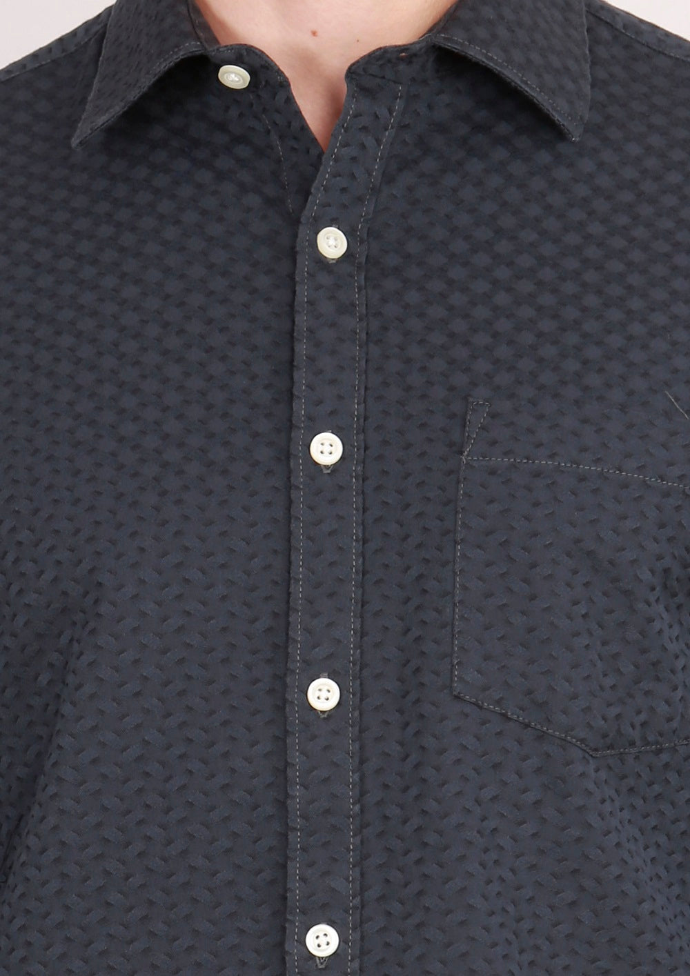 IMYOUNG Black Solid Slim Fit Casual Shirt
