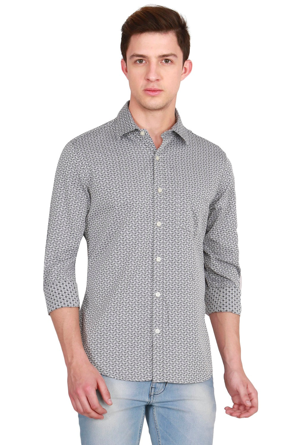 IMYOUNG Grey Solid Slim Fit Casual Shirt
