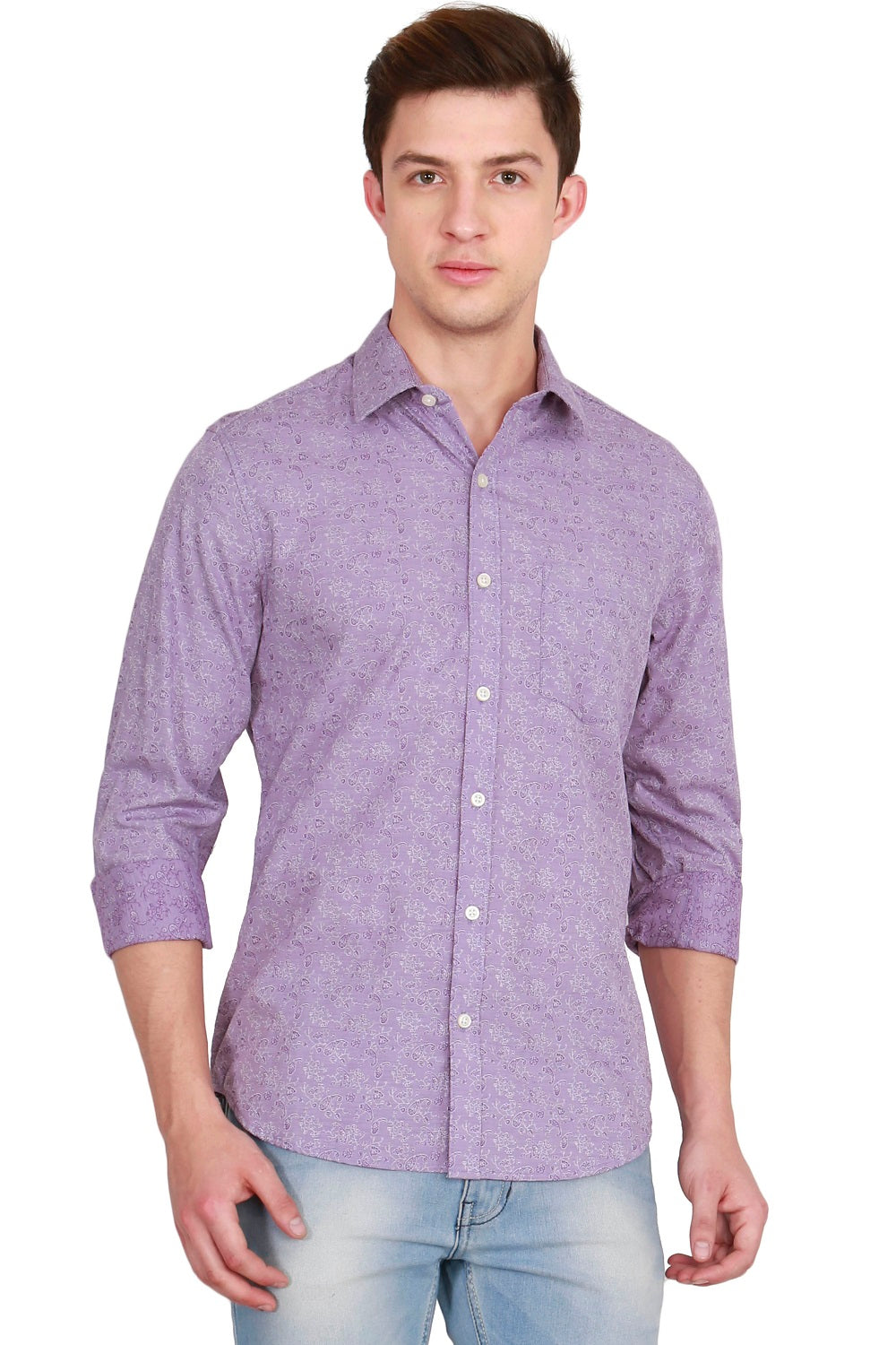 IMYOUNG Purple Solid Slim Fit Casual Shirt