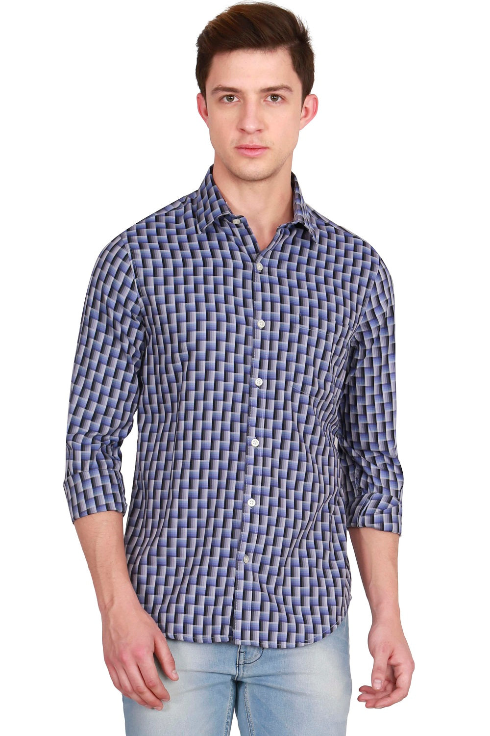 IMYOUNG Blue and Black Slim Fit Casual Shirt