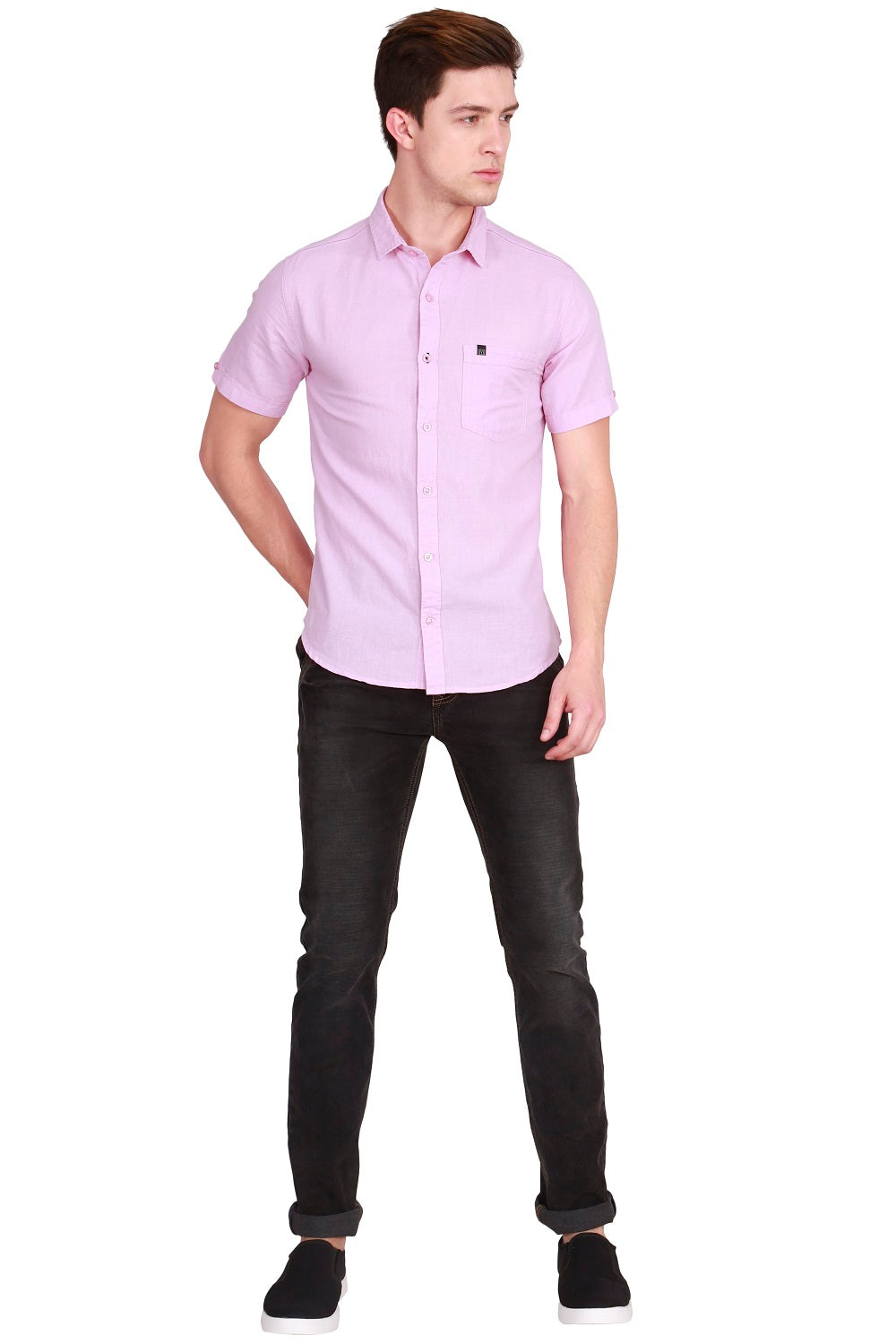 IMYOUNG Men's Solid Pink Cotton Linen Casual Shirt