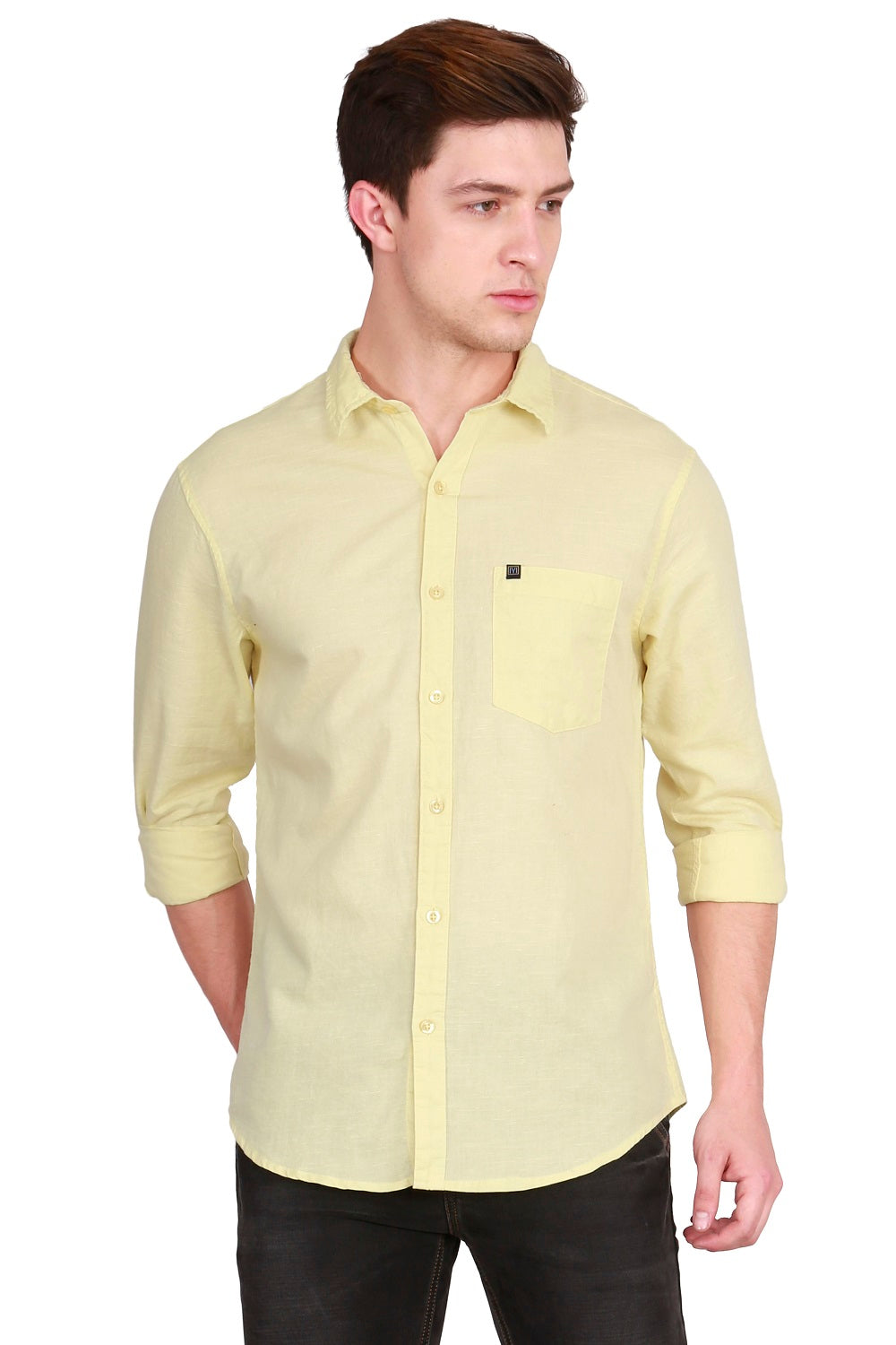 IMYOUNG Men's Solid Yellow Cotton Linen Casual Shirt