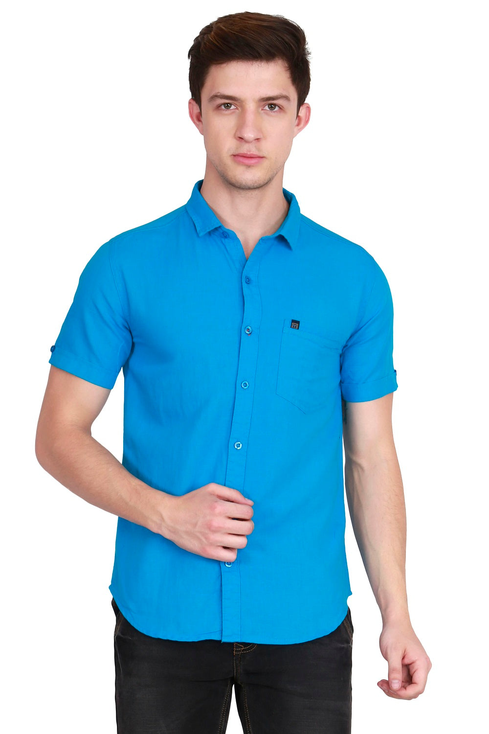 IMYOUNG Men's Solid Blue Cotton Linen Casual Shirt