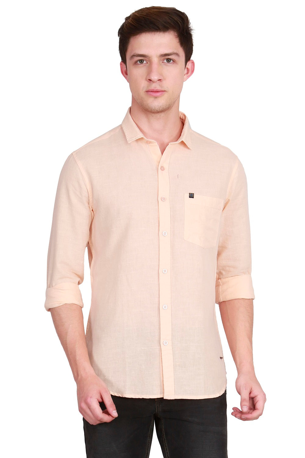 IMYOUNG Men's Solid Cotton Linen Casual Shirt
