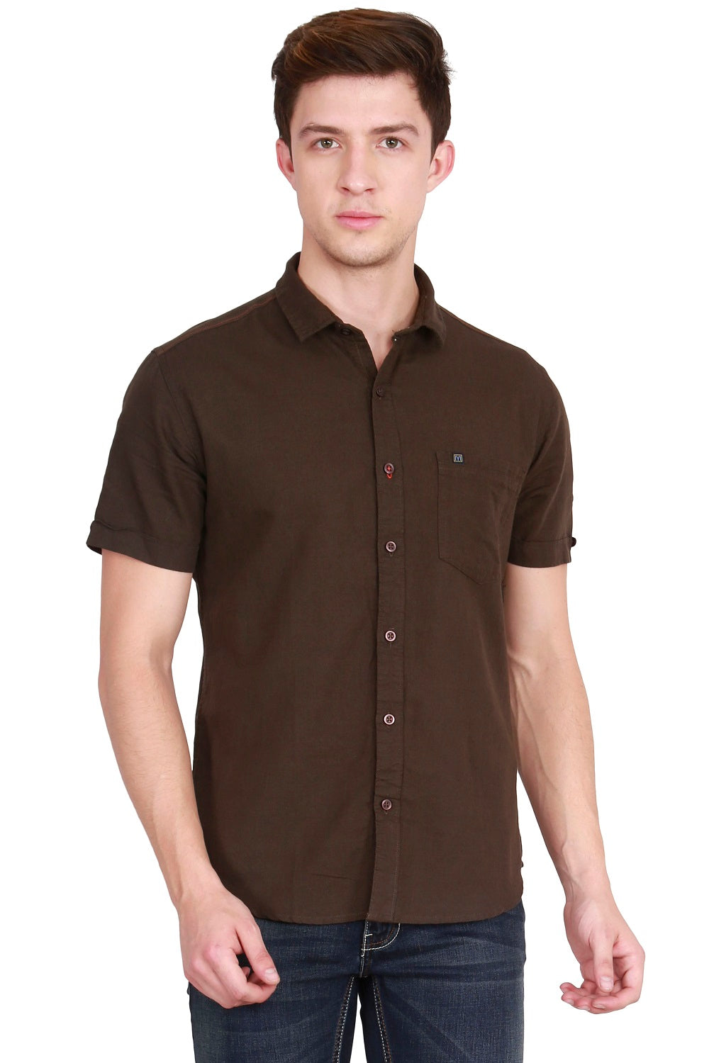 IMYOUNG Men's Solid Brown Cotton Linen Casual Shirt