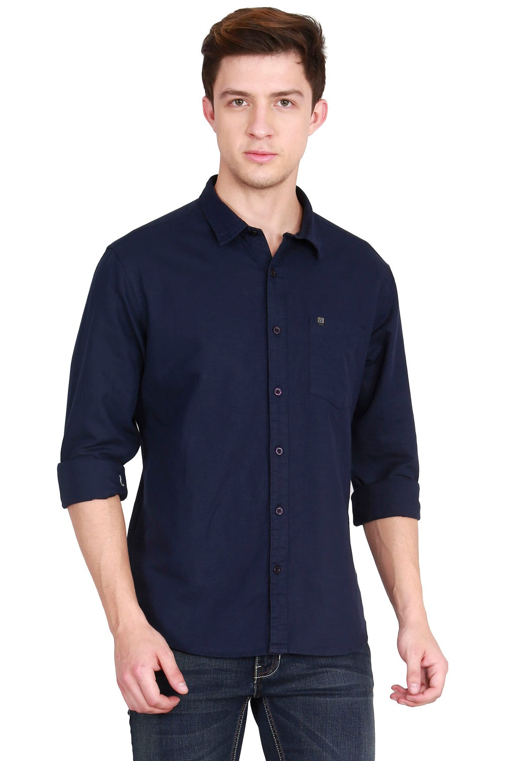 IMYOUNG Men's Solid Navy Blue Cotton Linen Casual Shirt
