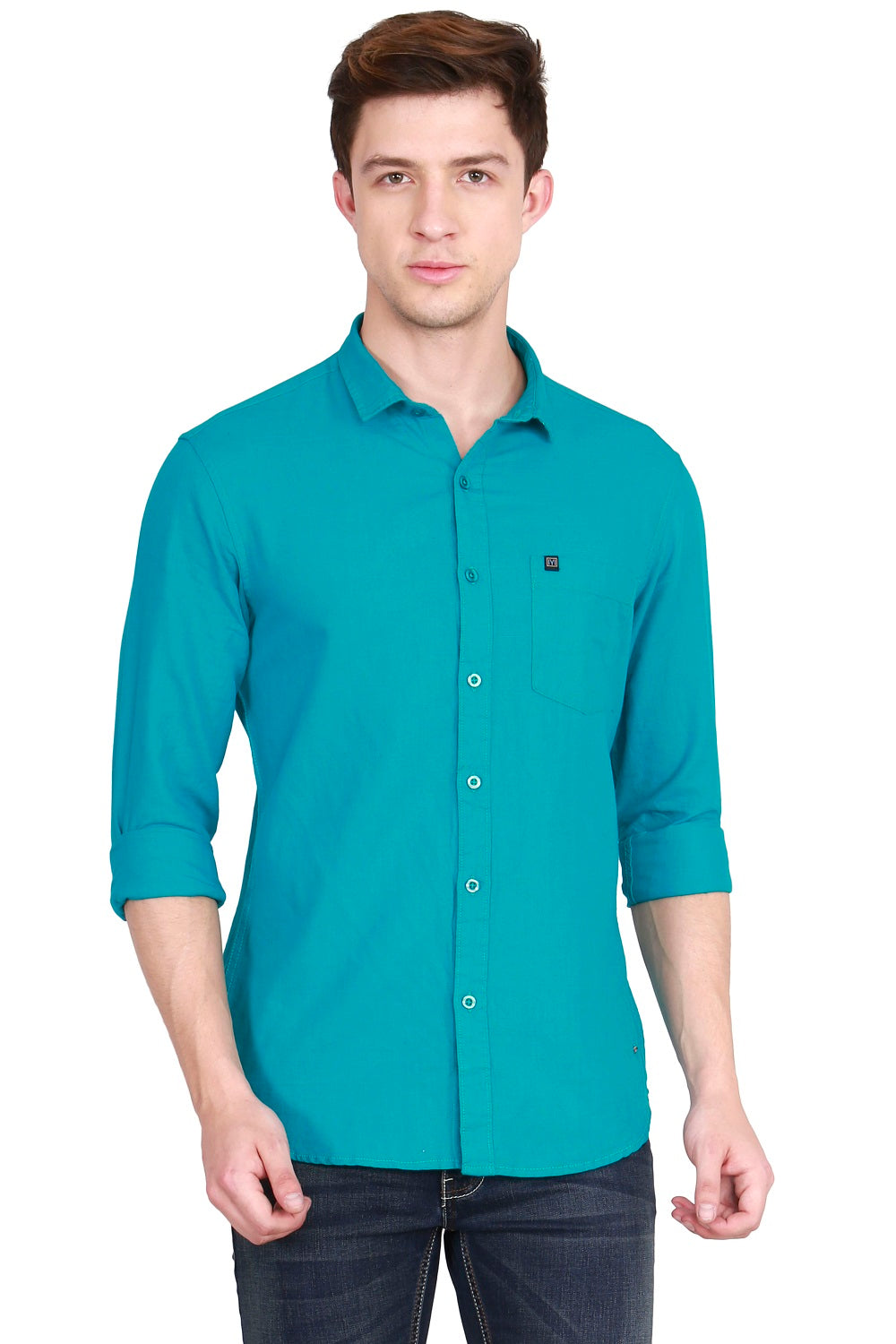 IMYOUNG Men's Solid Green Cotton Linen Casual Shirt