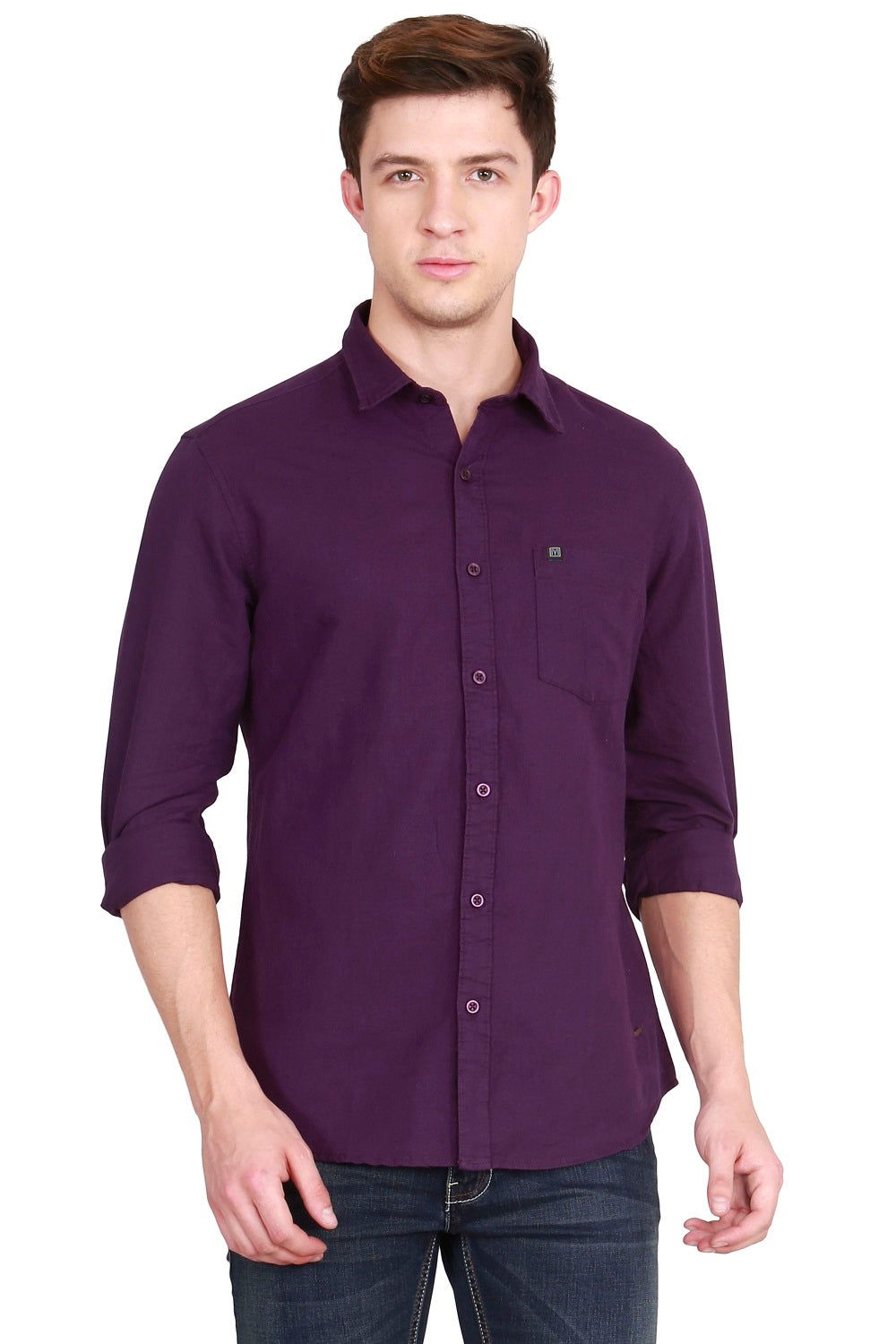 IMYOUNG Men's Solid Purple Cotton Linen Casual Shirt