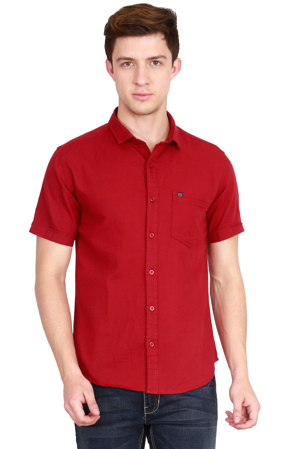 IMYOUNG Men's Solid Maroon Cotton Linen Casual Shirt