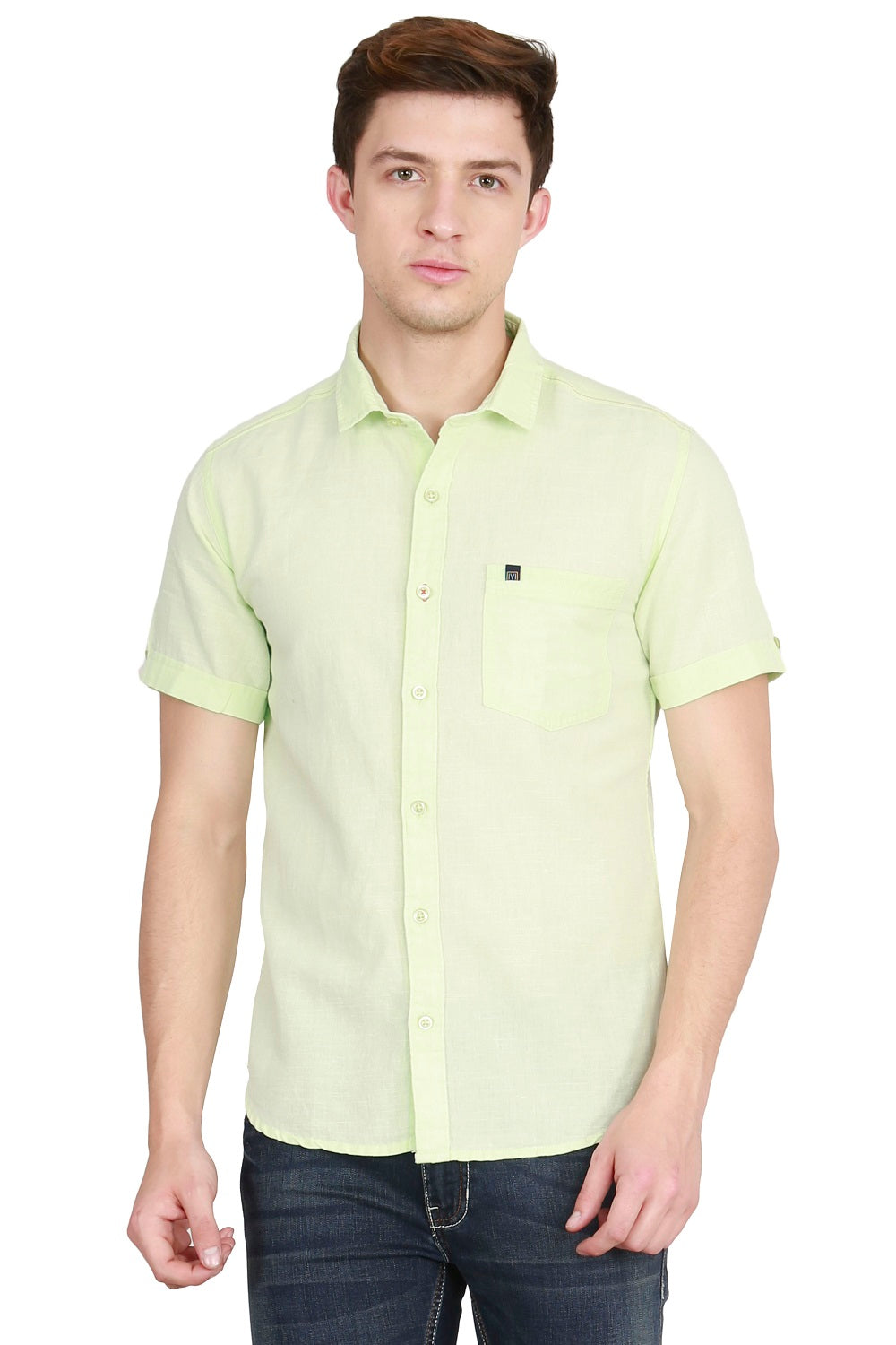 IMYOUNG Men's Solid Pista Green Cotton Linen Casual Shirt