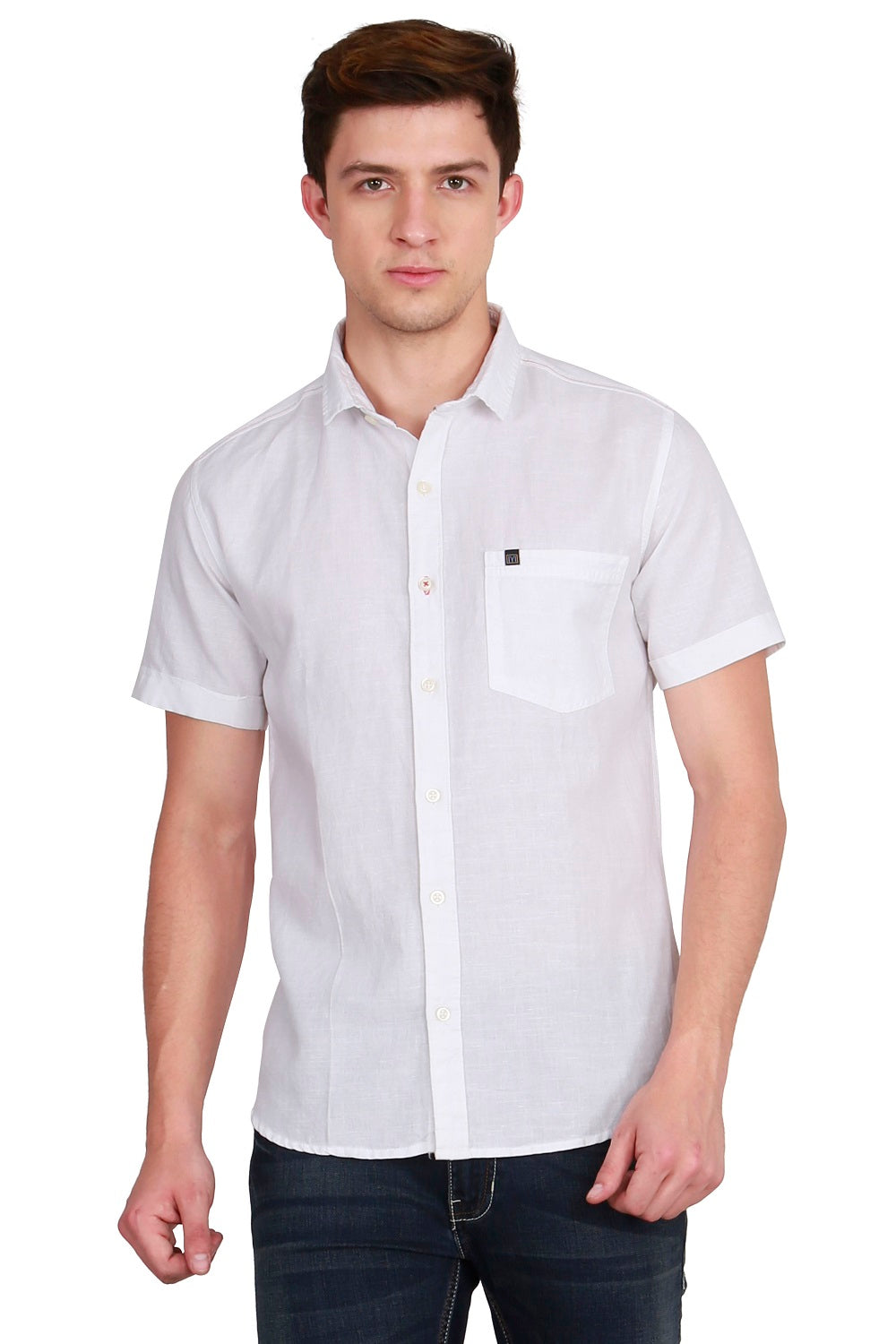 IMYOUNG Men's Solid White Cotton Linen Casual Shirt