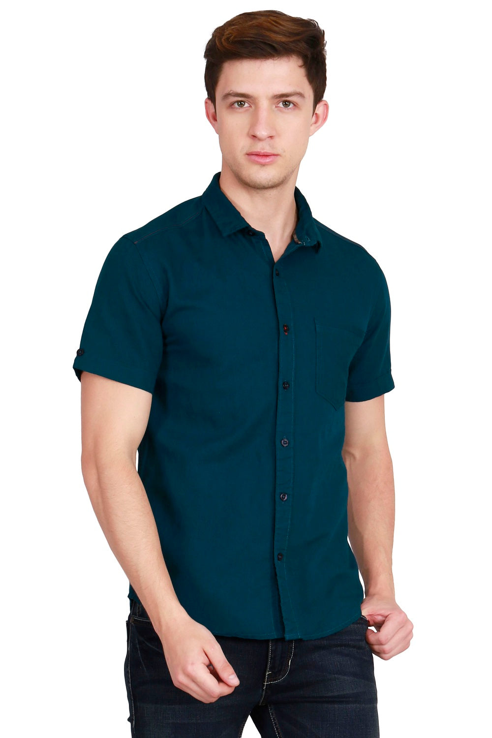 IMYOUNG Men's Solid Dark Green Cotton Linen Casual Shirt