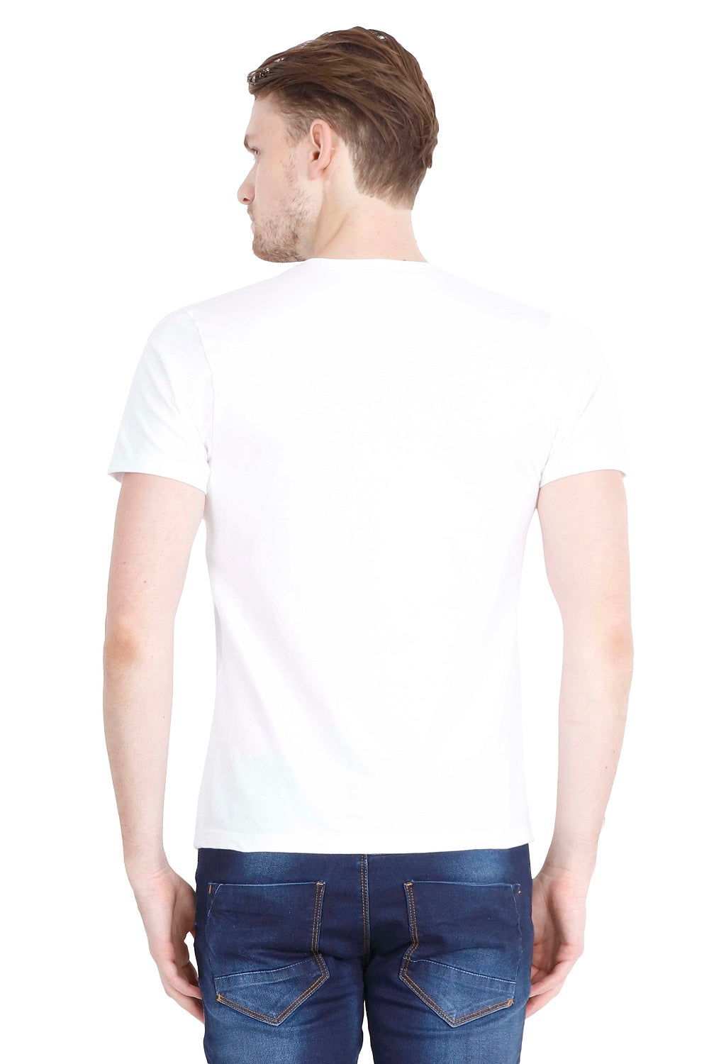 Hunt and Howe Men's White Printed Round Neck T-Shirt