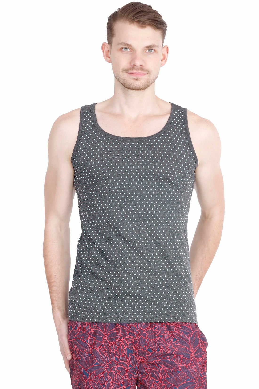 Hunt and Howe Men's Grey Printed Sleeveless T-Shirt