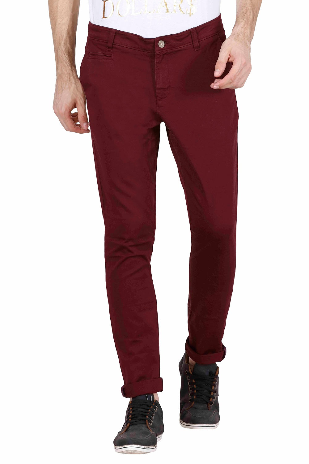 Men's Slim Fit Maroon Cotton Chinos