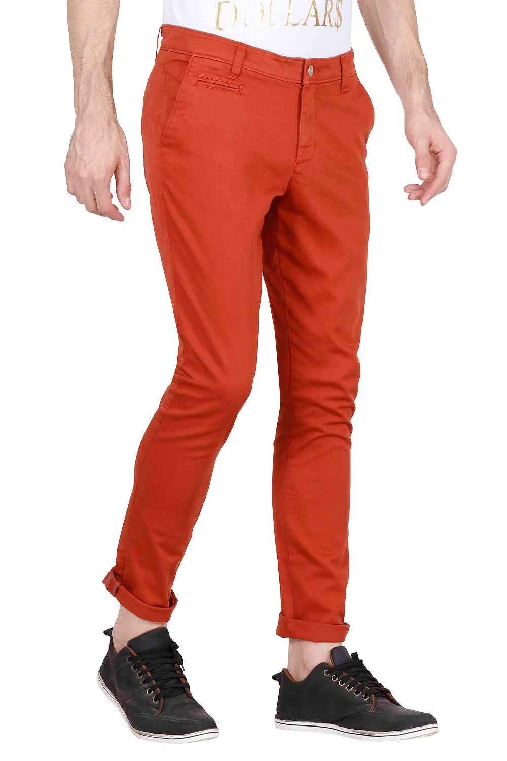 MEN'S SLIM FIT RUST ORANGE COTTON CHINOS