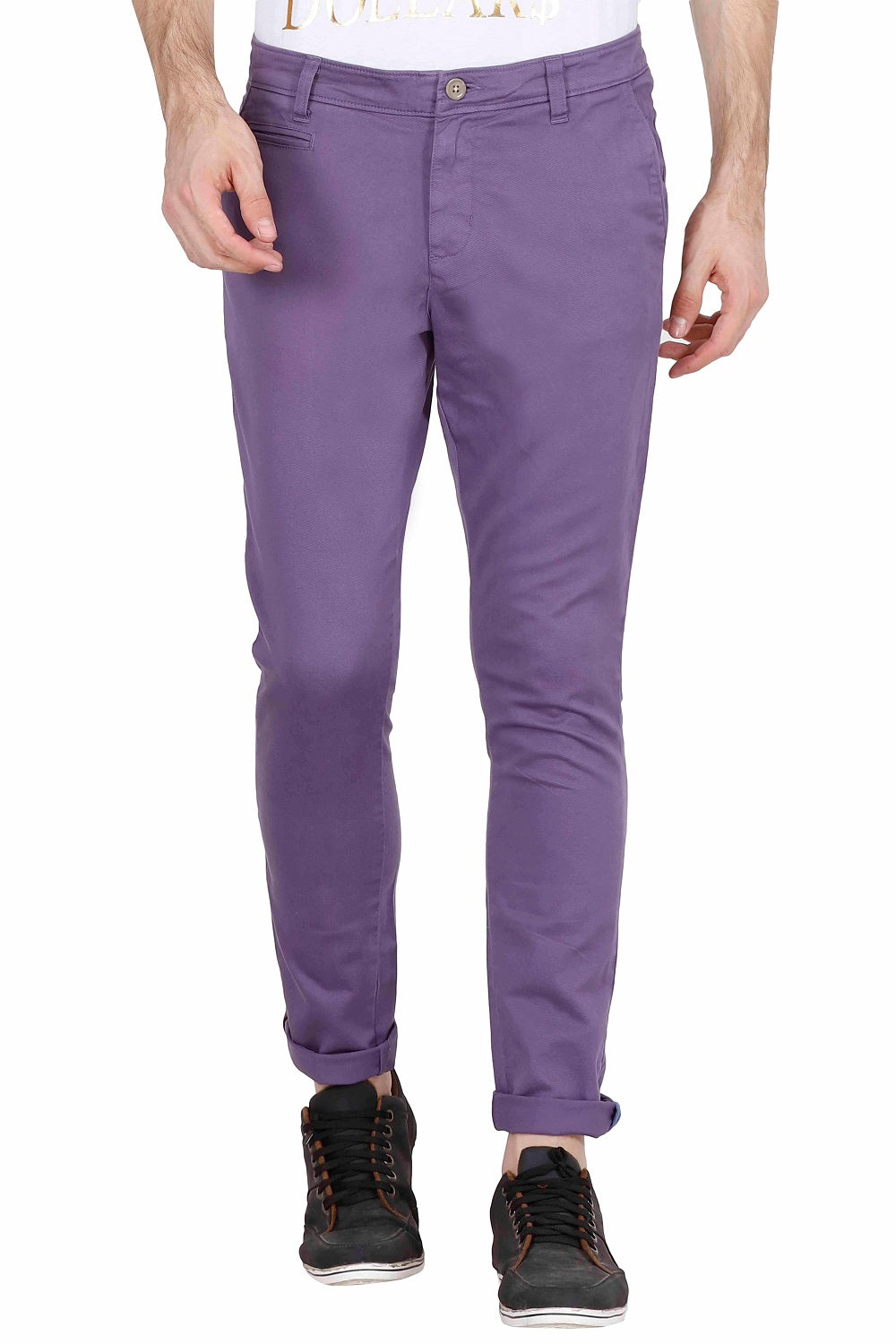 Men's Slim Fit Purple Chinos