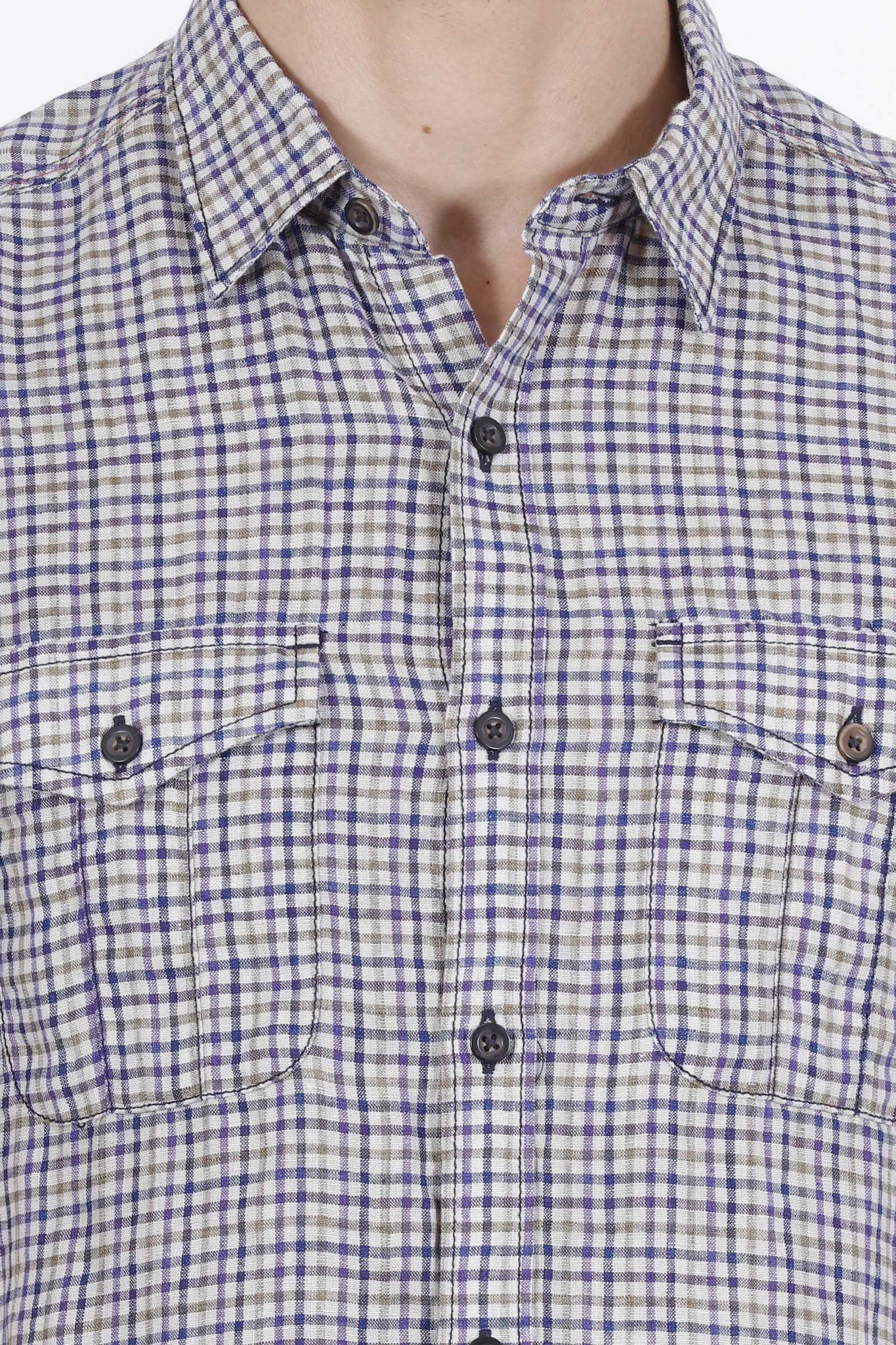 Hunt and Howe Multicolored 100% Linen Half Sleeve Shirt
