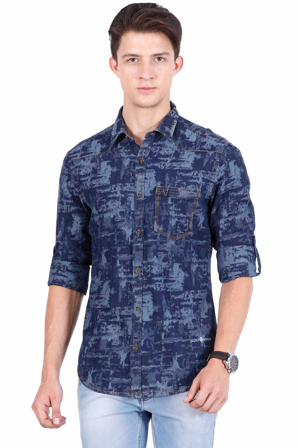 Hunt and Howe Men's Denim Printed Casual Shirt