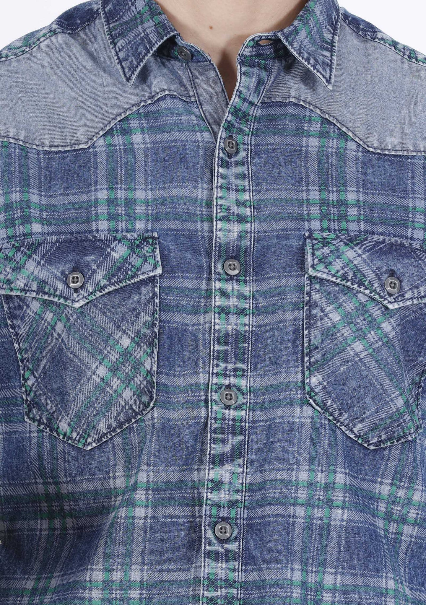 Hunt and Howe Denim Checks Casual Shirt
