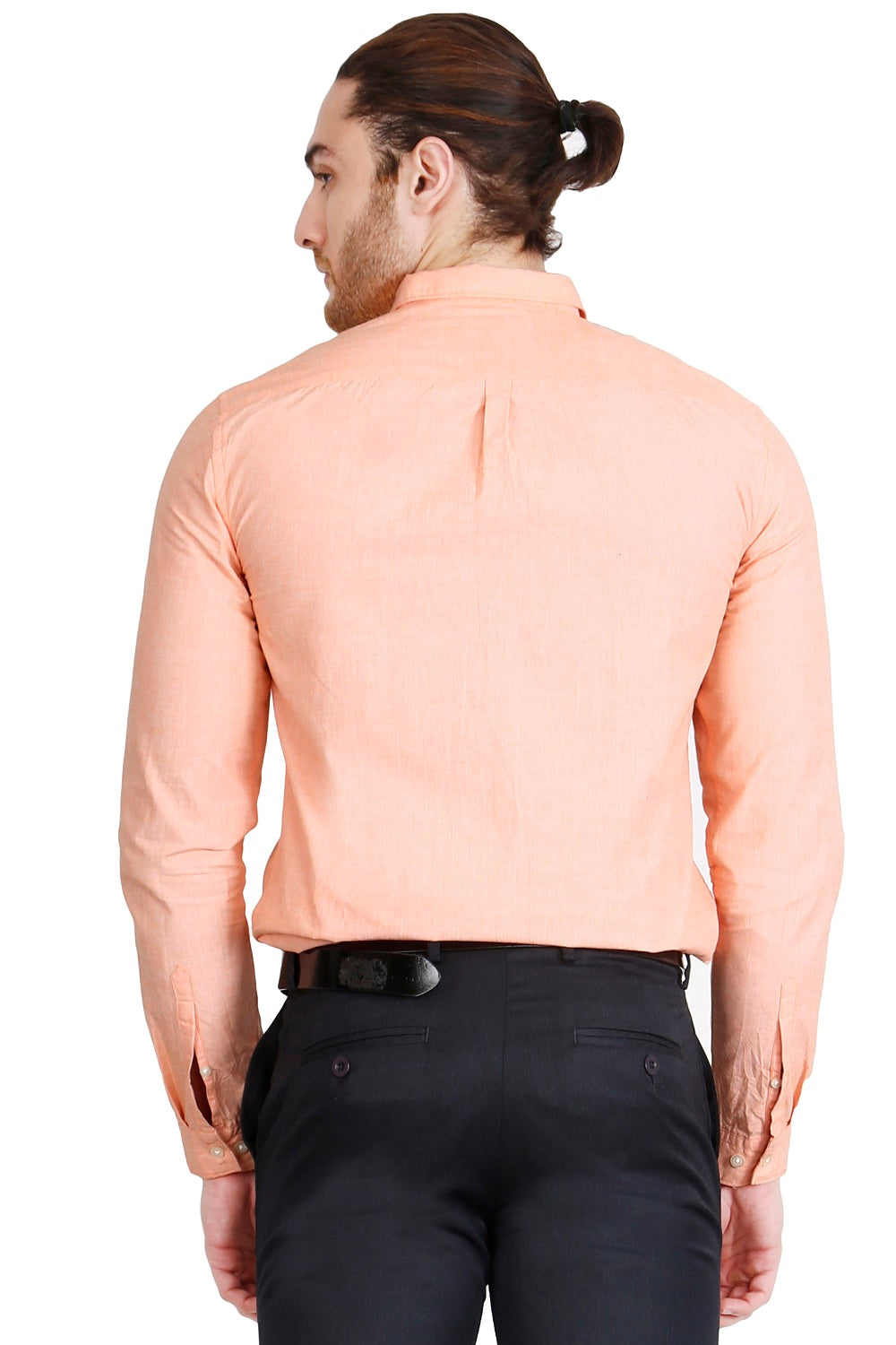 Orange Solid Formal Full Sleeve Shirt