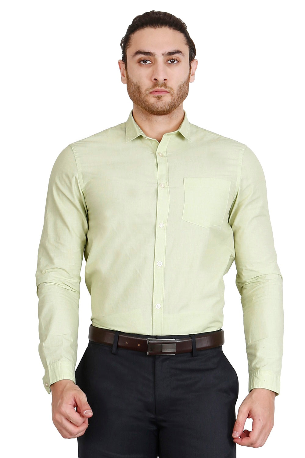 Pale Green Solid Formal Full Sleeve Shirt