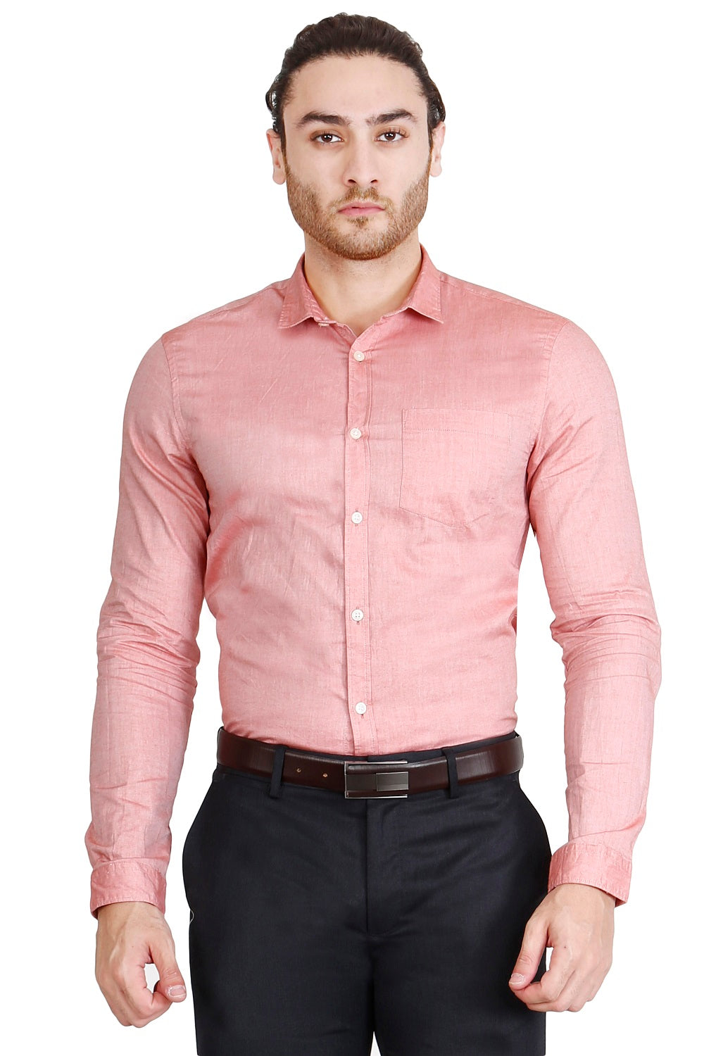 Red Solid Formal Full Sleeve Shirt