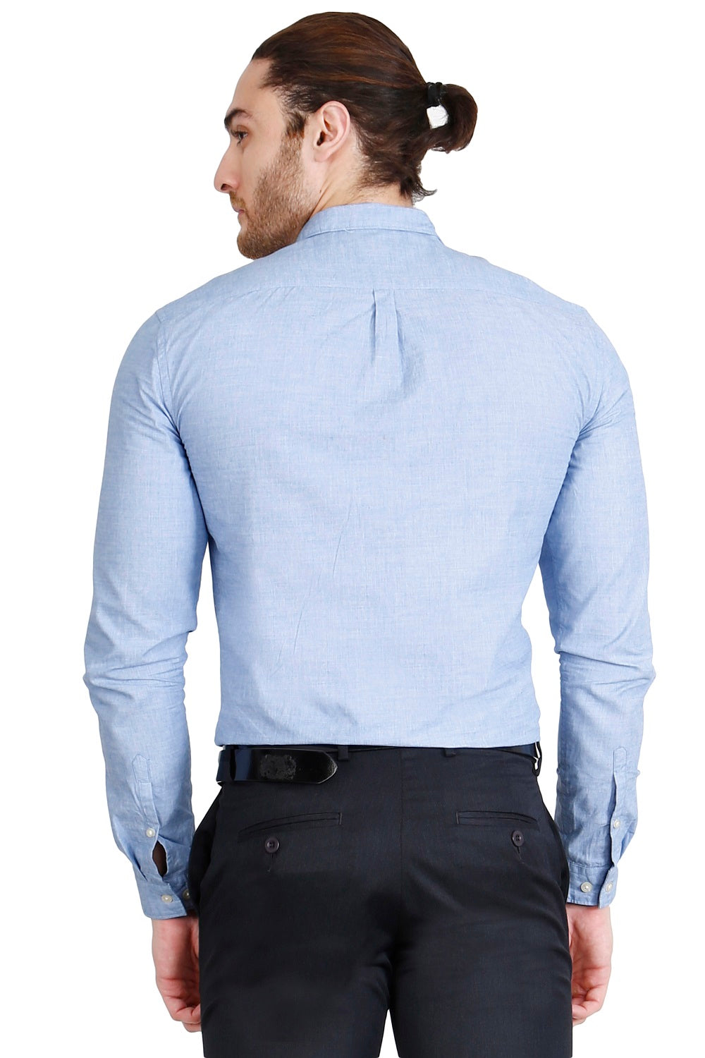 Sky Blue Solid Formal Full Sleeve Shirt