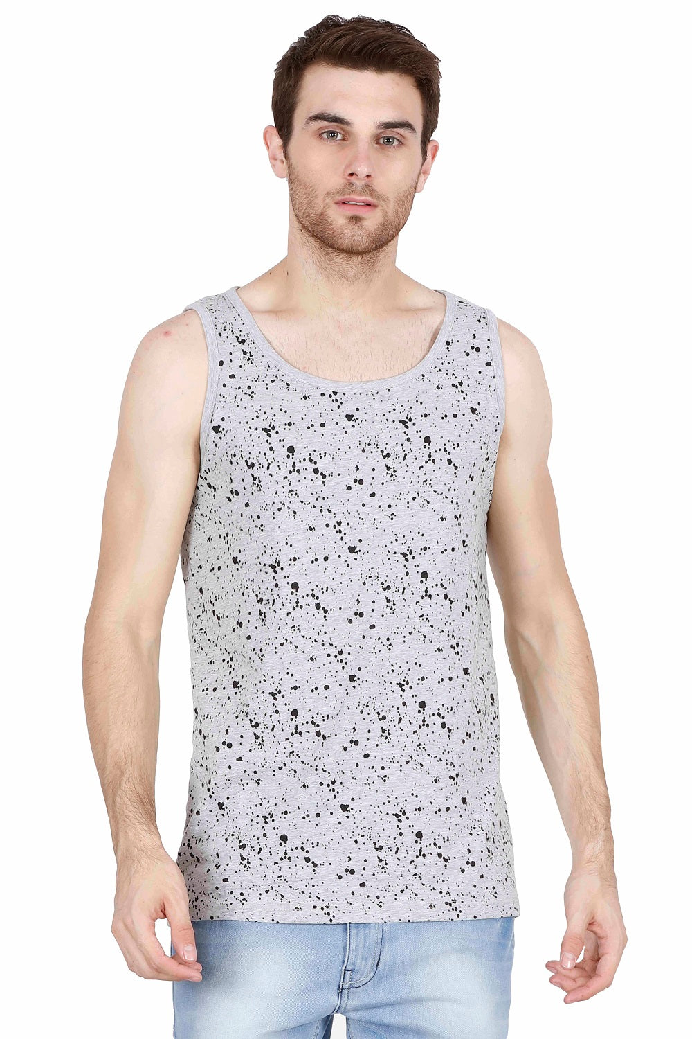 Men's Splash print Round Neck Sleeveless Vest