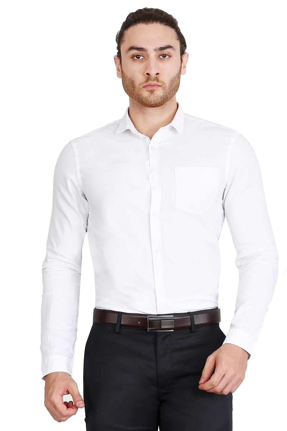 White Solid Formal Full Sleeve Shirt
