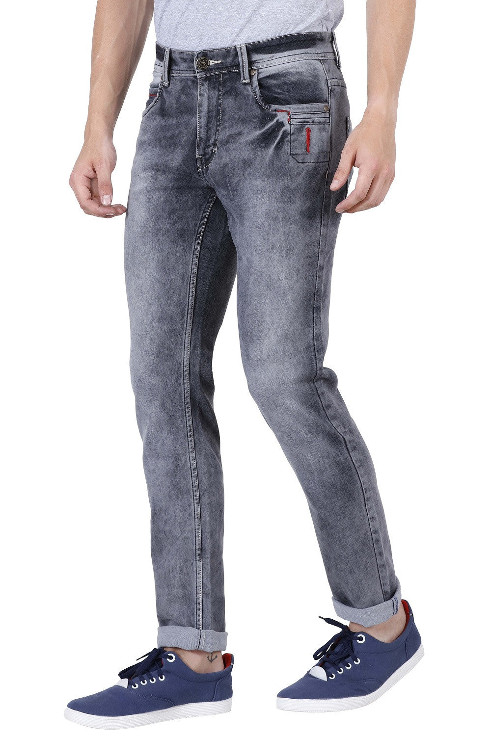 IMYOUNG Grey Slim Fit Jeans