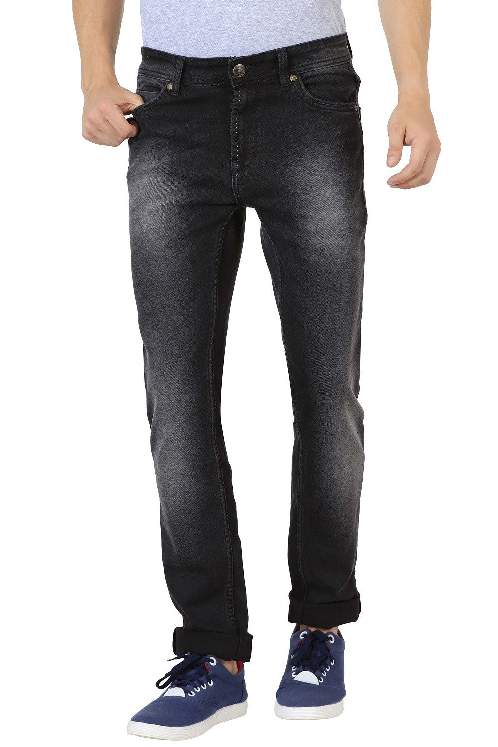 IMYOUNG Faded Black Slim Fit Jeans