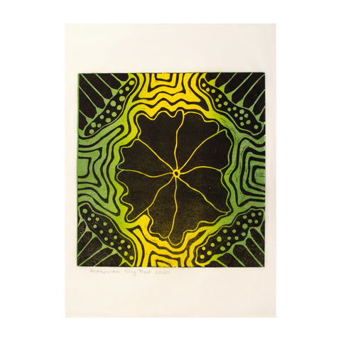 Lily Pad (Green) , Lino Print - Ann Carmel Mulvien / Tucker. My Country. My Culture