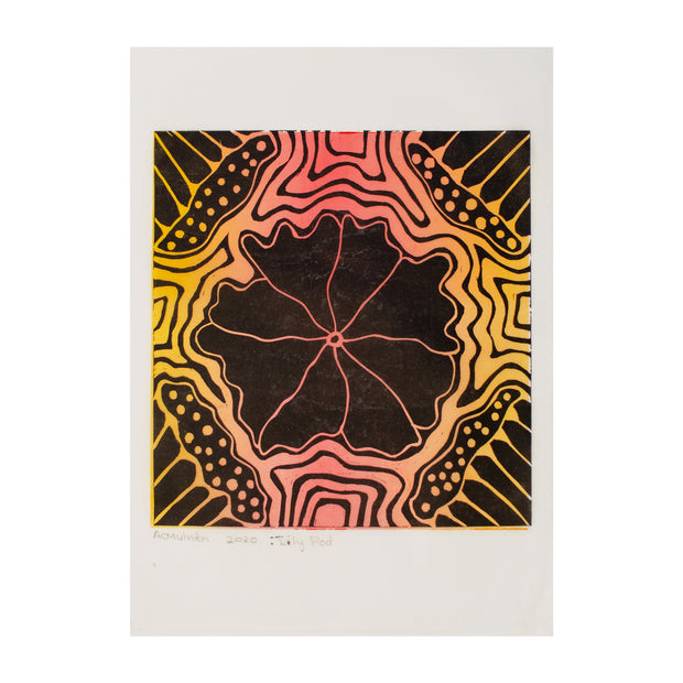 Lily Pad (Sunset) , Lino Print - Ann Carmel Mulvien / Tucker. My Country. My Culture