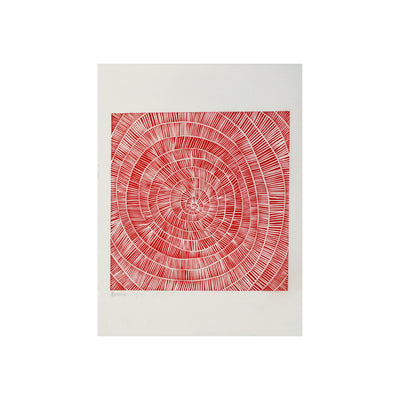 Untitled (Red) FRAMED, Lino Print - Benedicta Wungung / Tucker. My Country. My Culture