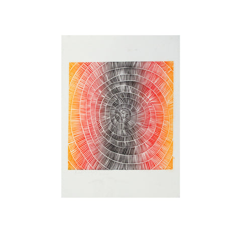 Untitled (Sunset & Black Spiral), Lino Print - Benedicta Wungung / Tucker. My Country. My Culture