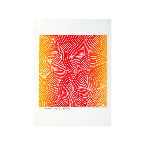 Untitled (Sunset Bold) FRAMED, Lino Print - Benedicta Wungung / Tucker. My Country. My Culture