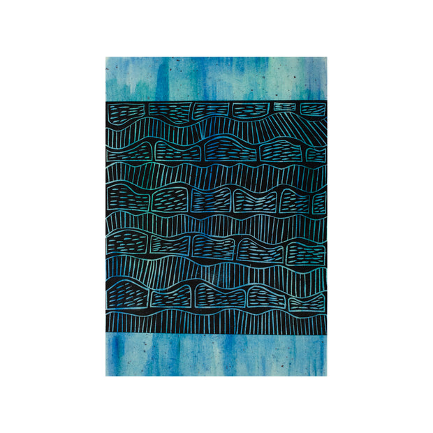 Untitled (Blue Painted), Lino Print - Benedicta Wungung / Tucker. My Country. My Culture