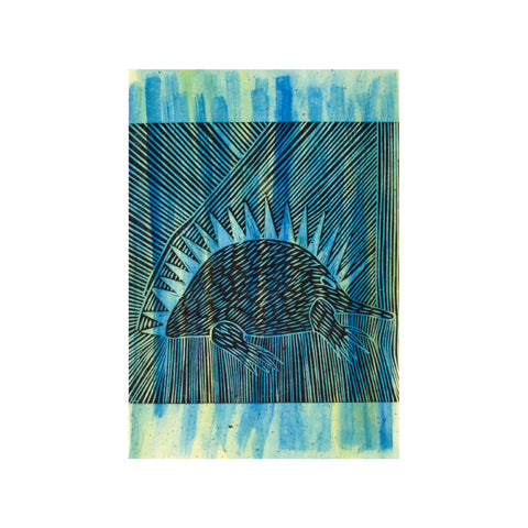 Untitled (Blue Green Painted), Lino Print - Benedicta Wungung / Tucker. My Country. My Culture