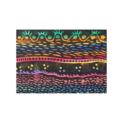 Untitled (Rainbow 3), Lino Print - Bernadette T / Tucker. My Country. My Culture
