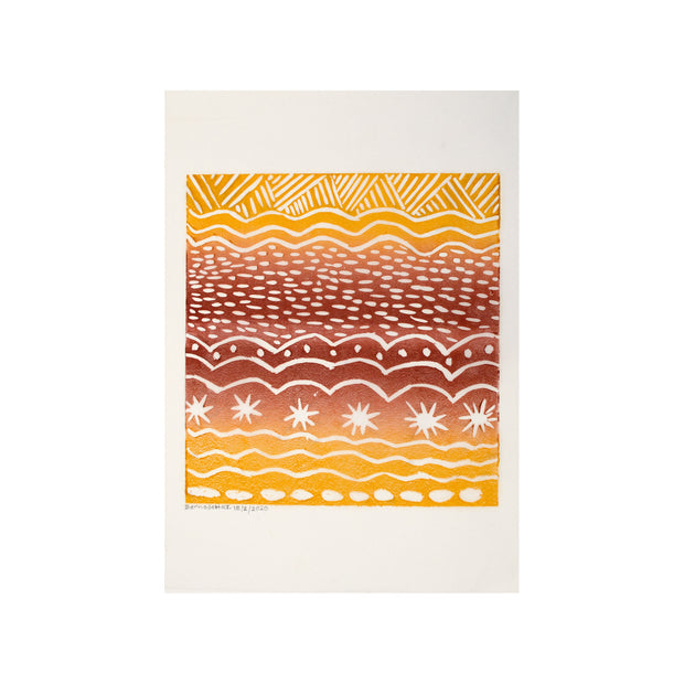 Untitled (Sunset) FRAMED, Lino Print - Bernadette T. / Tucker. My Country. My Culture